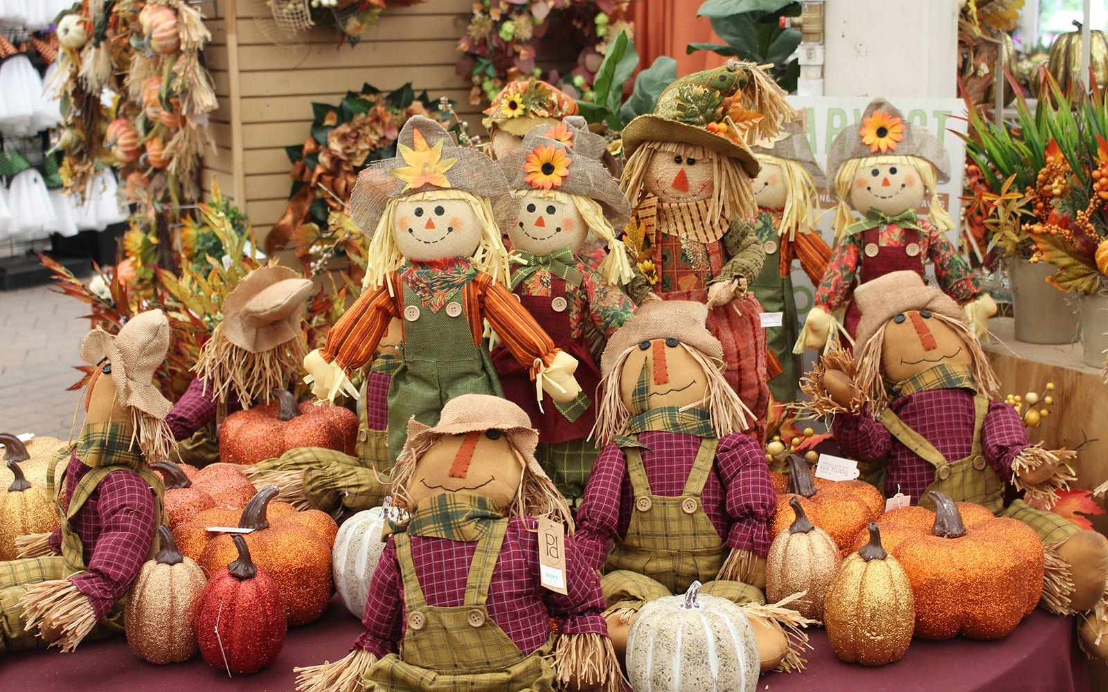 Assorted Fall Decor: Leaves, Scarecrows etc.