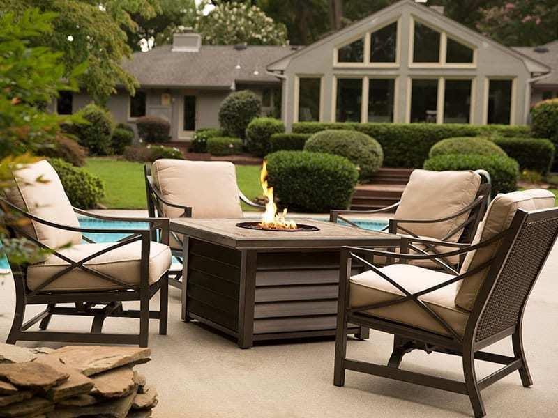 Cushioned Chairs and Table Fire Pit Set