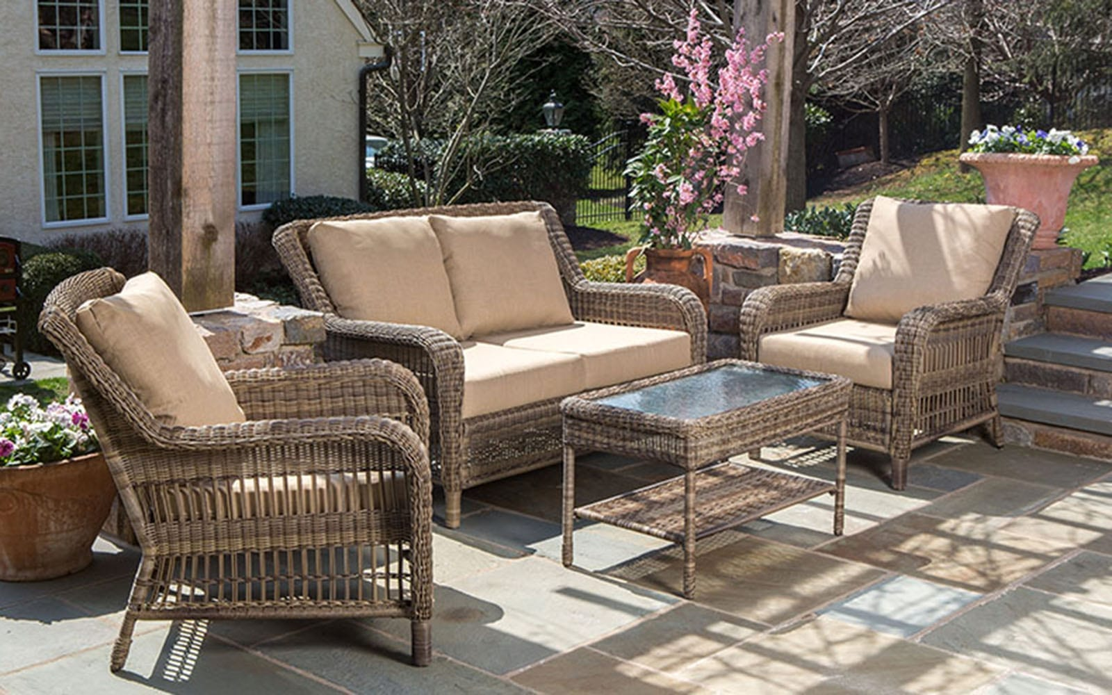 white chairs sets outdoor furniture for small spaces | Hicks Nurseries | Long Island's Largest Garden Center ...