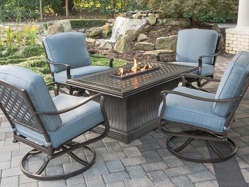 Cushioned Swivel Chairs and Table Fire Pit Set