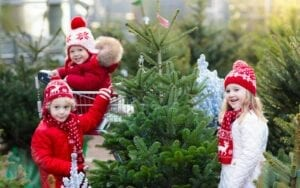 Children with Christmas Trees