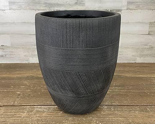 FIberclay Mixed Stripe 11-inch Black Planter